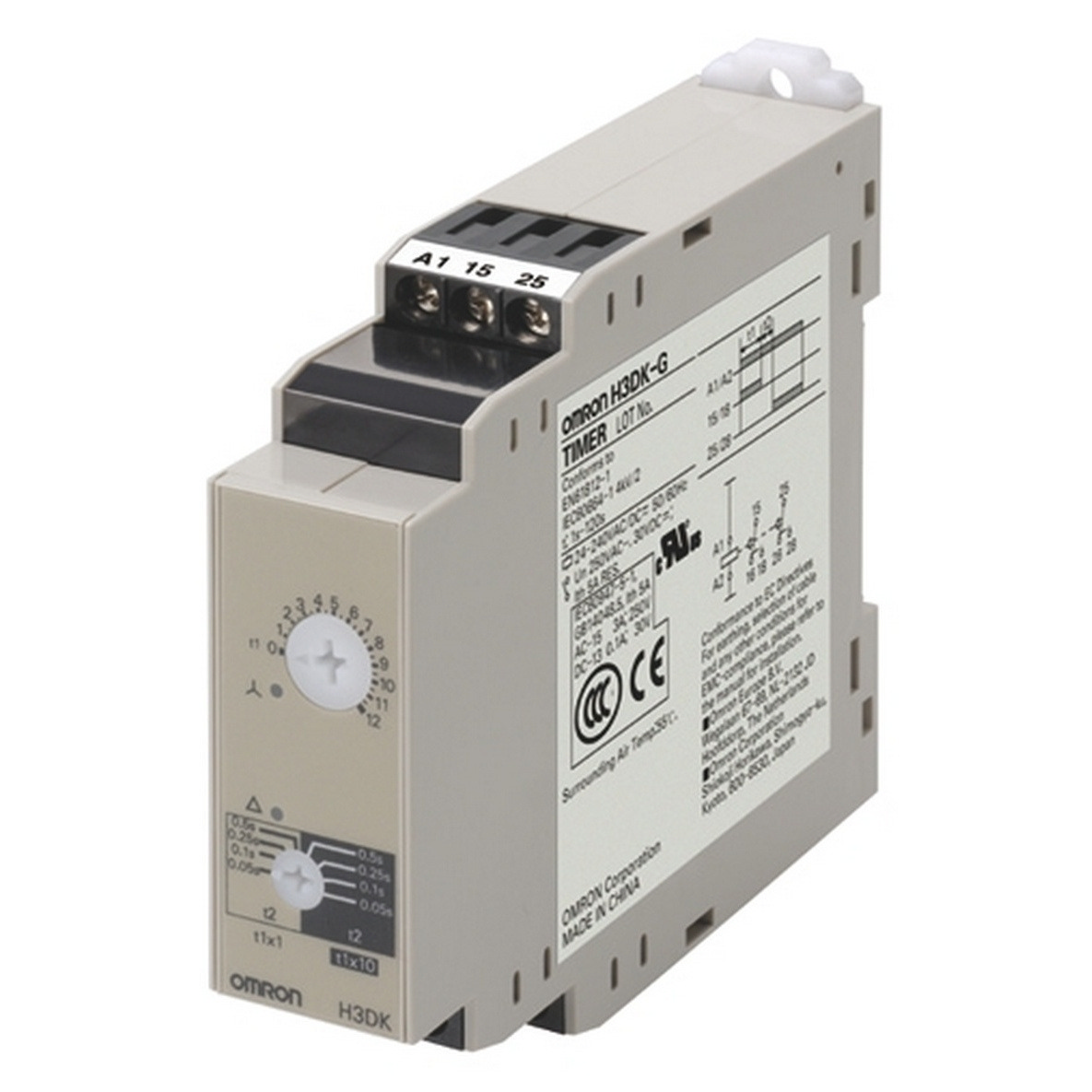 Timer, DIN rail mounting, 22.5mm, star-delta-delay, 1-120s, DPDT, 5 A, 240-440 VAC